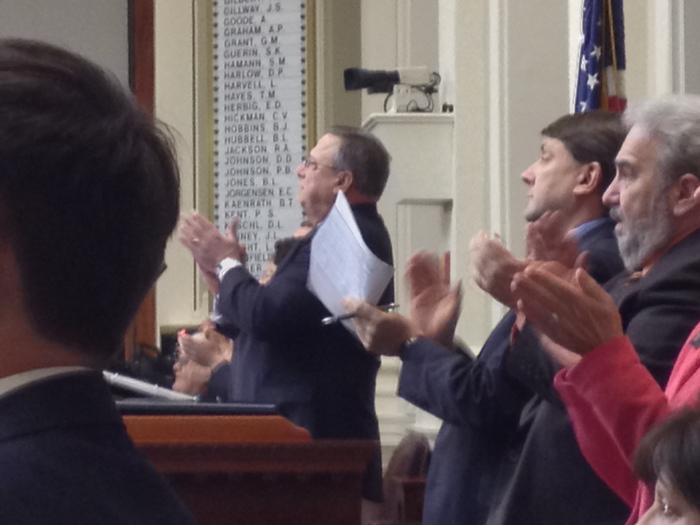 Giv. Paul LePage and dignitaries applaud servicemen in attendance at the State of the State address, on Tuesday at the State House in Augusta.