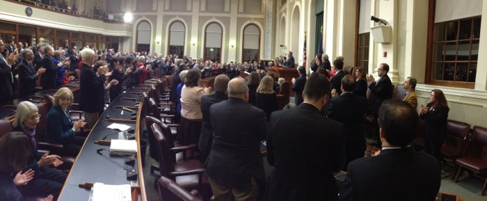 The gallery at the Tuesday's State of the State address gives a standing ovation to Gov. Paul LePage, at the State House in Augusta.