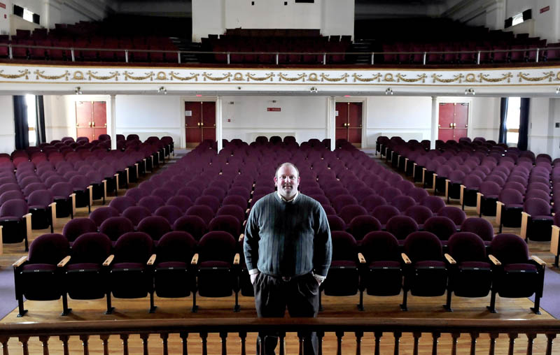 Skowhegan Chamber of Commerce Executive Director Cory King stands inside the Skowhegan Opera House on Wednesday.