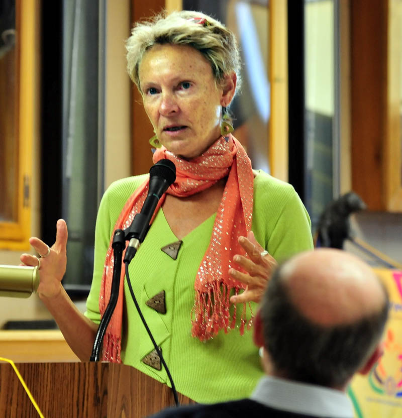 Waterville Mayor Karen Heck speaks to the Waterville Rotary Club on Monday.