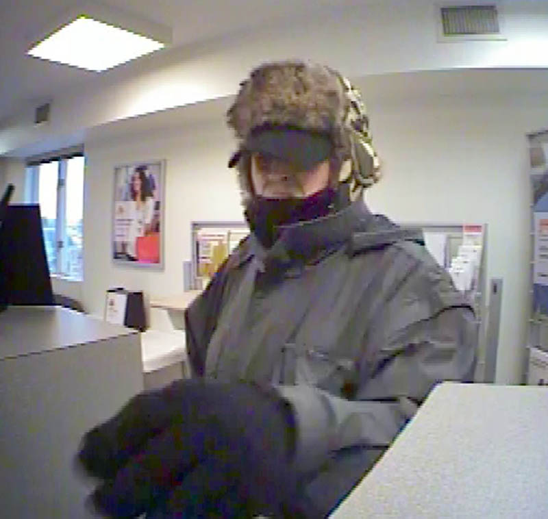 Police are looking for the man in this security camera photo who robbed a KeyBank branch Thursday in Waterville. The photo was taken at 4:42 p.m. Thursday, according to information in the digital photo.