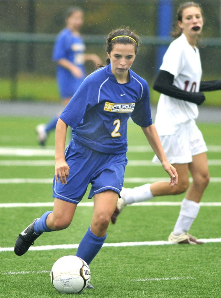 Falmouth's Caitlin Bucksbaum dribbles the ball in this 2011 photo.