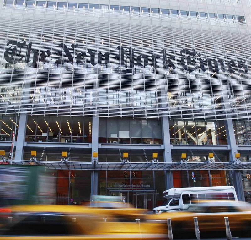 The facade of the New York Times building, where Chinese hackers were able to access the computers of 53 employees.