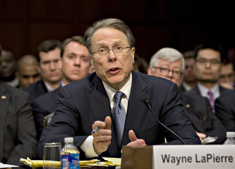 National Rifle Association CEO Wayne LaPierre testifies last month before the Senate Judiciary Committee in the wake of the Connecticut school shooting.