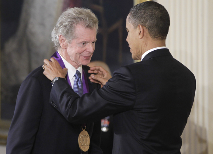 President Barack Obama presents a 2010 National Medal of Arts to pianist Van Cliburn on March 2, 2011, during a ceremony in the East Room of the White House.