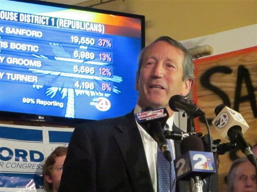 Former South Carolina Gov. Mark Sanford addresses supporters in Charleston, S.C., on Tuesday after advancing to the GOP primary runoff in a race for a vacant South Carolina congressional seat.