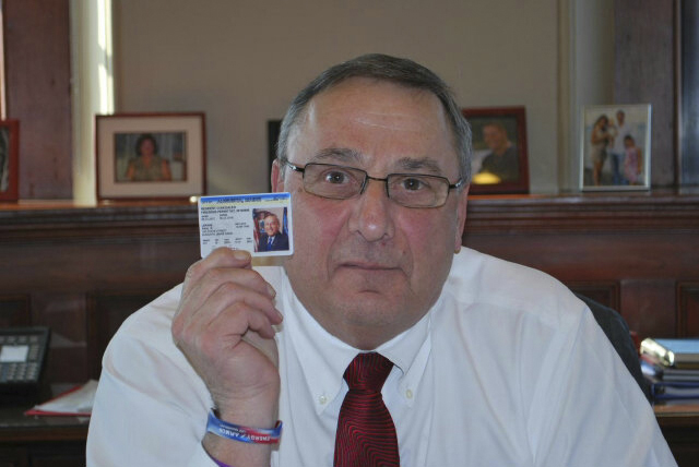 Gov. Paul LePage's Twitter account linked to this photo of him holding up his concealed weapon permit during a controversy about requests for public gun data.
