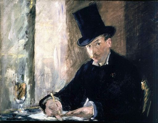 """This undated file photograph released by the Isabella Stewart Gardner Museum shows the painting """"Chez Tortoni,"""" by Manet, one of more than a dozen works of art stolen in the early hours of March 18, 1990."""