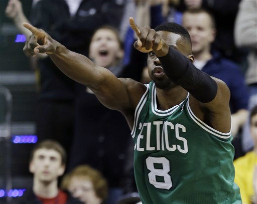 Boston Celtics' Jeff Green (8) celebrates scoring the game-winning basket against the Indiana Pacers in an NBA basketball game Wednesday, March 6, 2013, in Indianapolis. Boston defeated Indiana 83-81. (AP Photo/Darron Cummings)