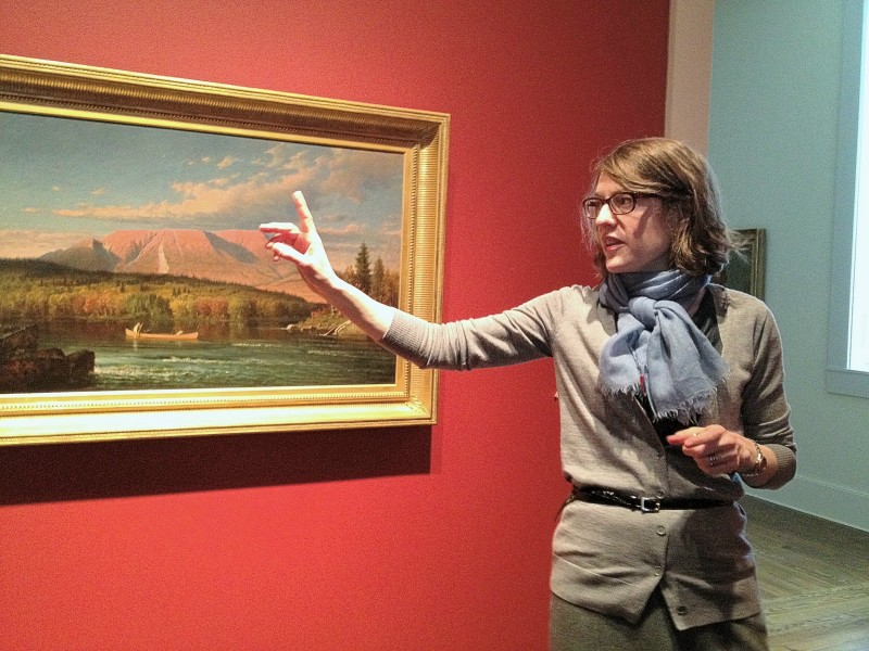 Colby College Museum of Art director Sharon Corwin leads a tour of the soon-to-open Lunder Pavilion on Monday, March 25, 2013.