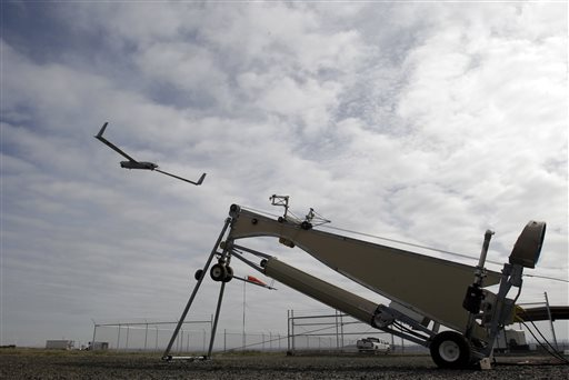 An Insitu ScanEagle unmanned aircraft is launched at the airport in Arlington, Ore., on Wednesday.