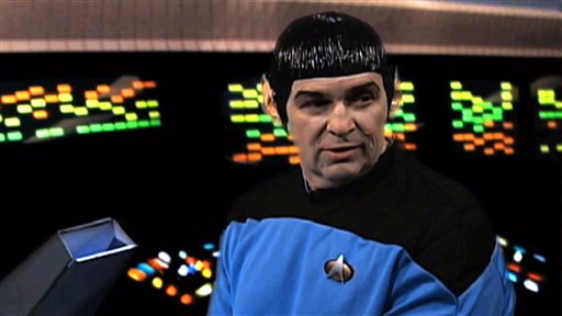 "An IRS employee portrays Mr. Spock in a scene from a video parodying the TV show ""Star Trek."""