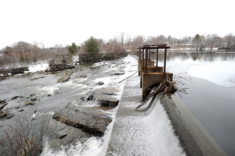 Sappi's Saccarappa Dam on the Presumpscot river in Westbrook Wednesday.