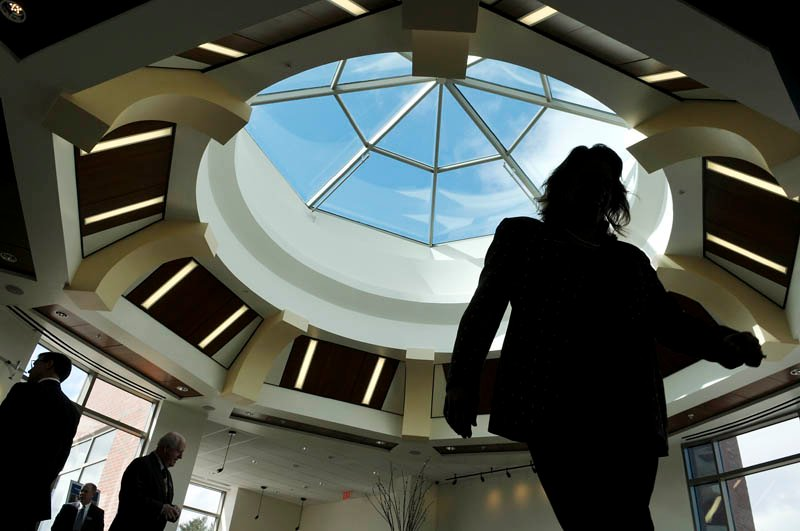 An atrium on the third floor of the new branch of Bangor Savings Bank on Western Avenue in Augusta, as seen on Monday.