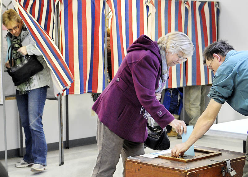 Pittston residents vote Monday at the town hall to elect selectmen.