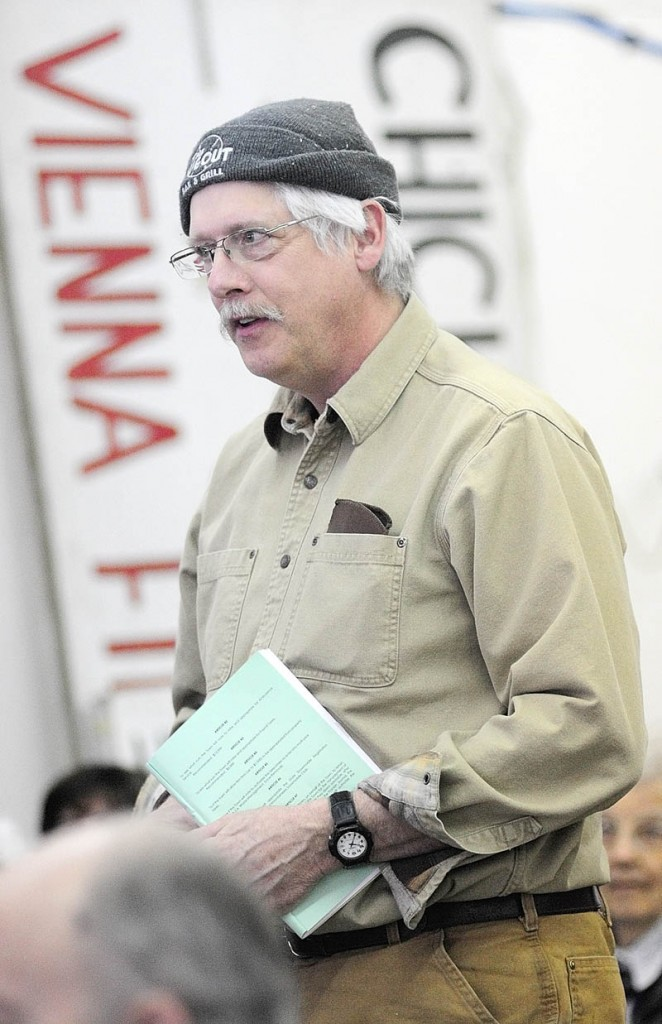 Tim Davis speaks during the debate on a warrant item, about ambulance coverage, on Saturday, during the Vienna town meeting.