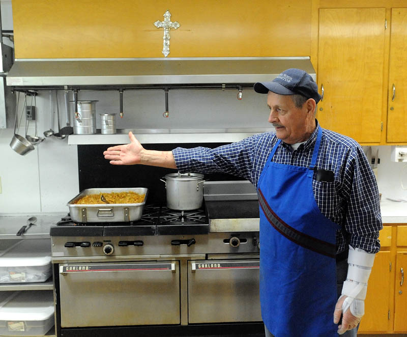 Don Reny, is a longtime volunteer cook at the Notre Dame soup kitchen on Silver Street in Waterville.