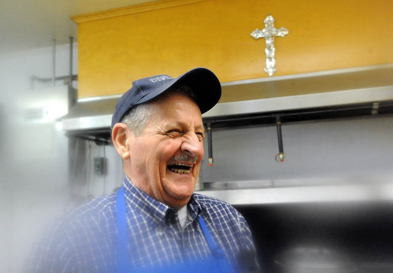 Don Reny is a longtime volunteer cook at the Notre Dame soup kitchen on Silver Street in Waterville.