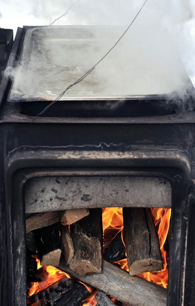 Sap boils on a stove in Oakland Saturday.