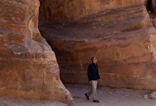 """President Barack Obama visits the ancient city of Petra, Jordan, Saturday. """"This is pretty spectacular,"""" he said."""