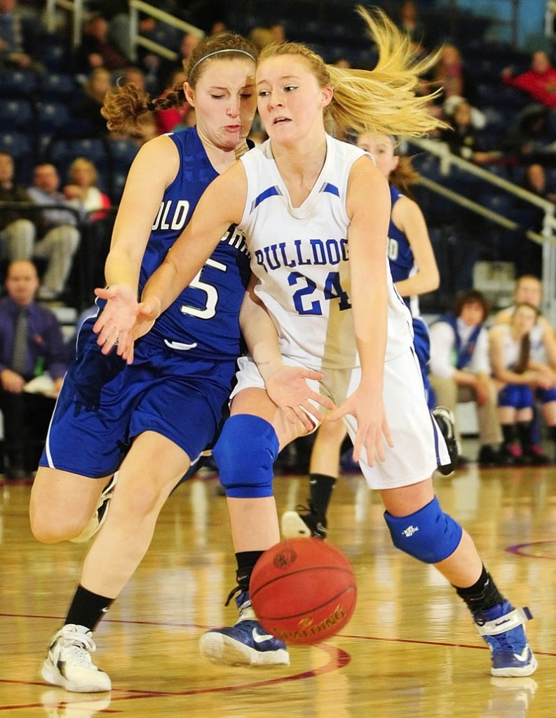 ONE MORE TIME: Madison senior guard Samantha Bruce, right, will play one more game with her coach Al Veneziano when the team up in the McDonalds' Maine Senior All-Star Games on Saturday at Husson University in Bangor.