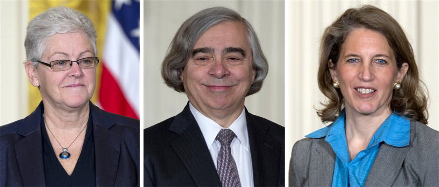 From left: Gina McCarthy, nominee to head the EPA; Ernest Moniz, nominee to run the Energy Department; and Sylvia Burwell, nominee to head the budget office.