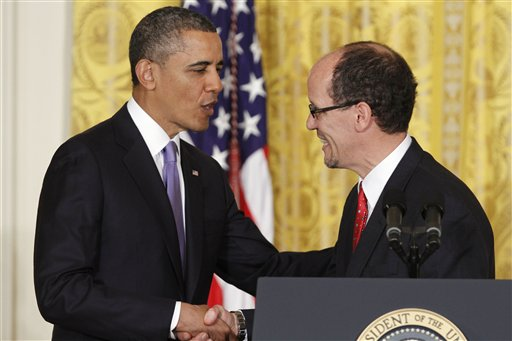 President Barack Obama shakes hands with his nominee for Secretary of Labor, Thomas E. Perez, while announcing the nomination in the East Room of the White House on Monday.