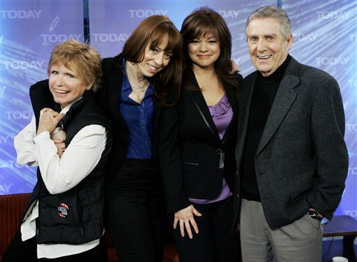 "Bonnie Franklin, left, MacKenzie Phillips, Valerie Bertinelli and Pat Harrington of the 1970s sitcom ""One Day at a Time"" appear on NBC's ""Today"" show in this 2008 photo."