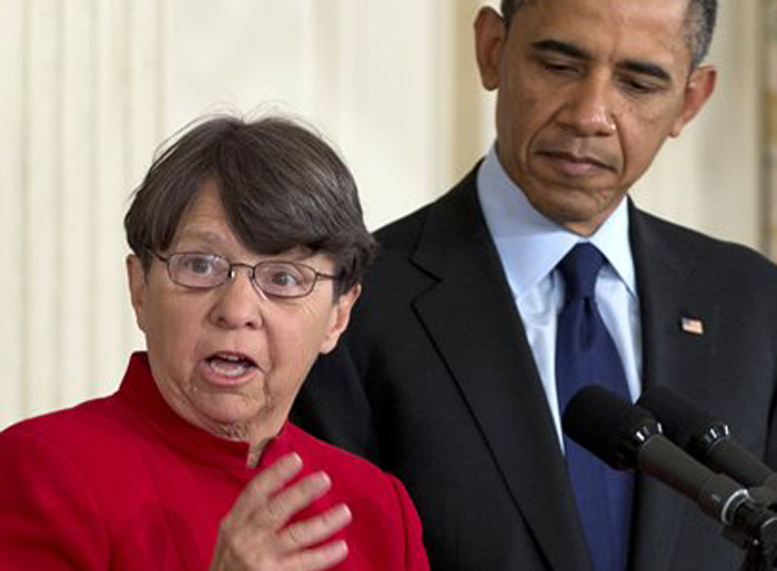 Mary Joe White speaks at the White House on Jan. 24, 2013, after President Barack Obama nominated her to lead the Security and Exchange Commission.