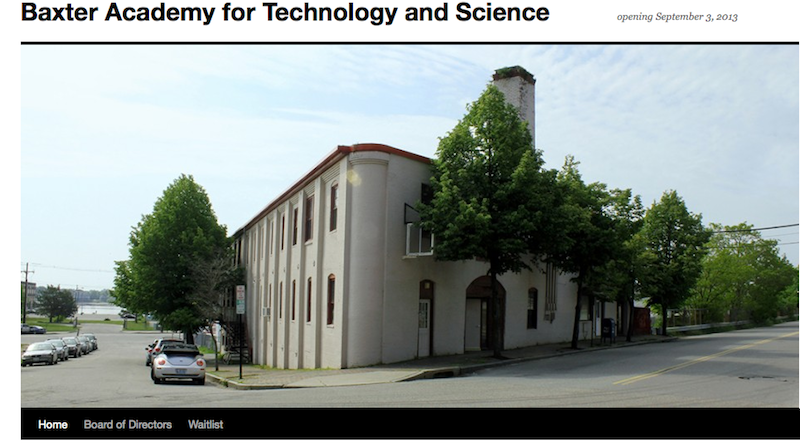 A screen shot from Baxter Academy's new website, www.baxteracademy.com.