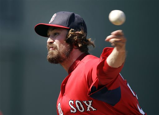 Boston Red Sox relief pitcher Andrew Miller delivers to the Minnesota Twins in the seventh inning of an exhibition spring training baseball game in Fort Myers, Fla., Saturday.