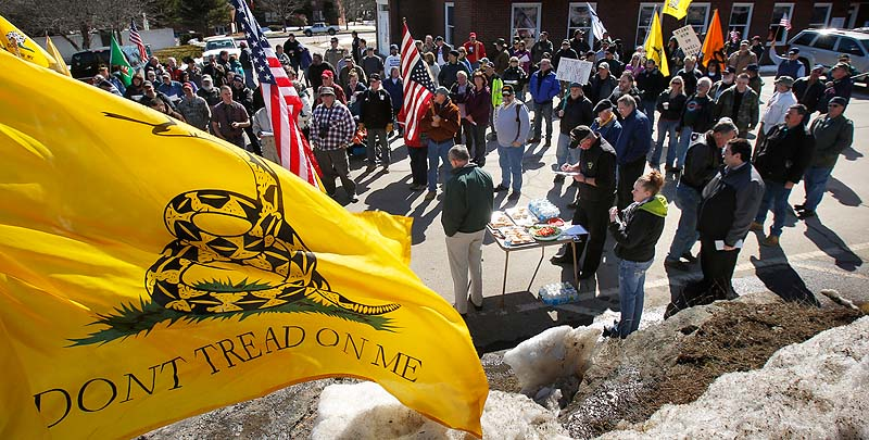 About 175 people attend a rally protesting gun control legislation and supporting gun rights in Wiscasset on Saturday. The rally was organized by Jessica Beckwith of Lewiston, who is forming the Maine Gun Rights Coalition.