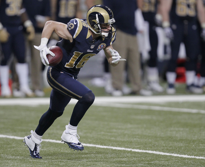 St. Louis Rams wide receiver Danny Amendola runs with the ball during a game against the Minnesota Vikings on Dec. 16, 2012, in St. Louis. Amendola has played in only 12 of the Rams' last 32 games and never has had more than 689 receiving yards in four NFL seasons.