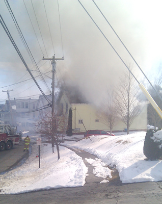 Crews respond to a fire at 146 Northern Ave. in Augusta on Thursday.