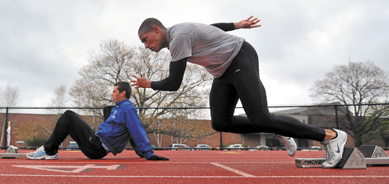 STATUS IS QUESTIONABLE: Colby College sprinter Dom Kone may it out the 60-meter dash at the NCAA Division III championships this weekend. Kone suffered a hamstring injury in a preliminary heat at the ECAC Championships last weekend.