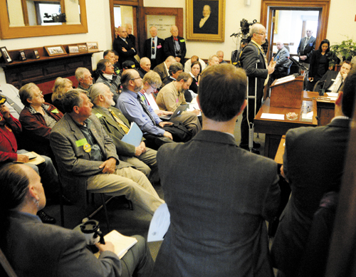 Rep. Paul McGowan, D-York, testifies about L.D. 345 in a crowded hearing before the Judiciary Committee Tuesday at the State House in Augusta.
