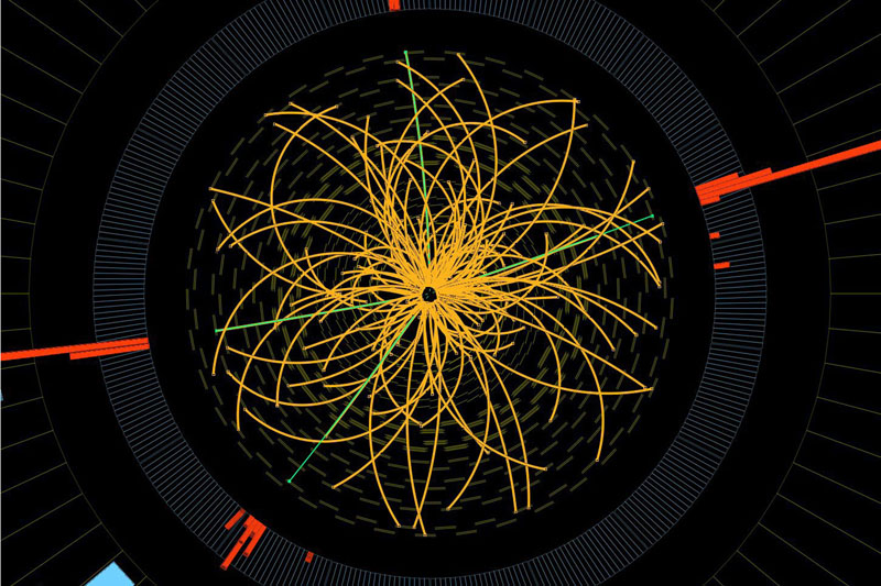 "This 2011 image provided by CERN, shows a real CMS proton-proton collision in which four high energy electrons (green lines and red towers) are observed in a 2011 event. The event shows characteristics expected from the decay of a Higgs boson but is also consistent with background Standard Model physics processes. Physicists say they are now confident they have discovered a long-sought subatomic particle known as a Higgs boson. The European Organization for Nuclear Research, called CERN, says Thursday March 14, 2013 a look at all the data from 2012 shows that what they found last year was a version of what is popularly referred to as the ""God particle."""