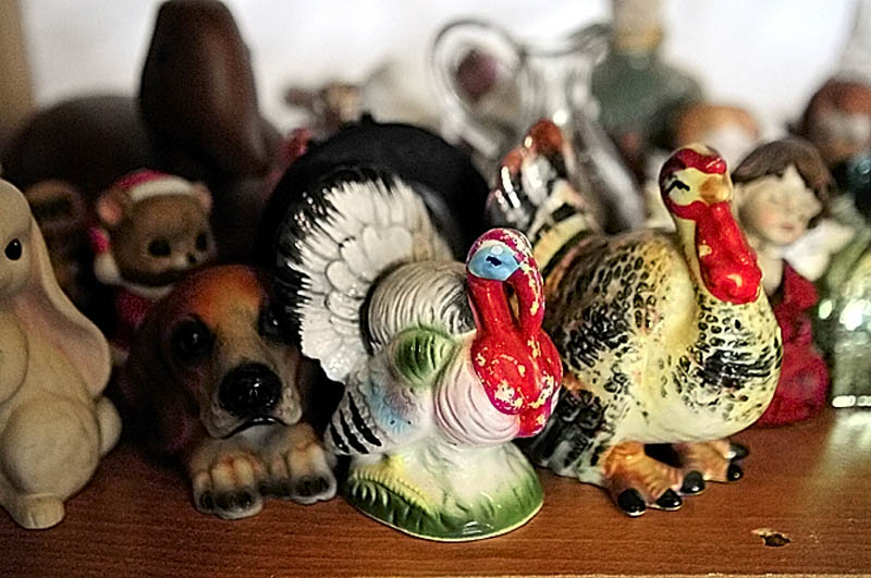 Ceramic turkey figurines are among the items at Bottles and More Redemption Shop in North Monmouth.