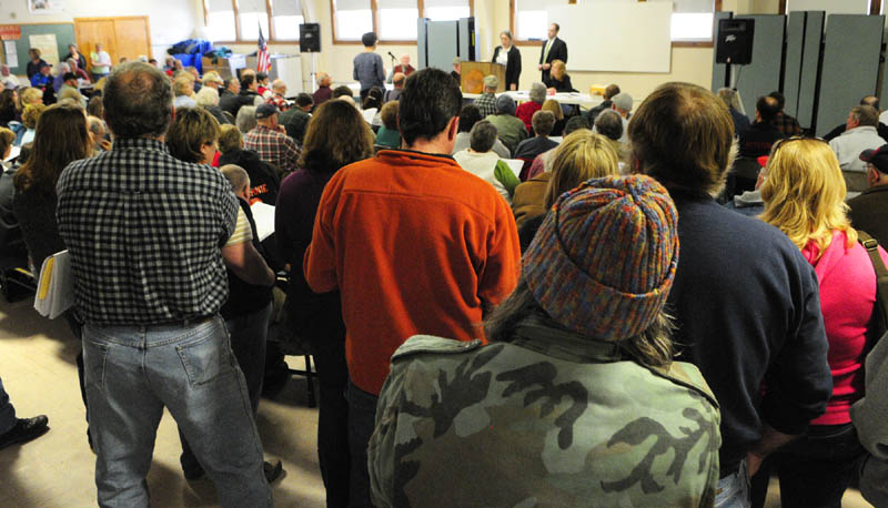 It was standing room only as over 200 people attended the Pittston town meeting on Saturday.