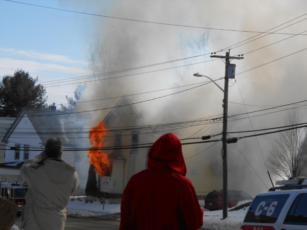 A house at 146 Northern Ave. in Augusta on fire Thursday.