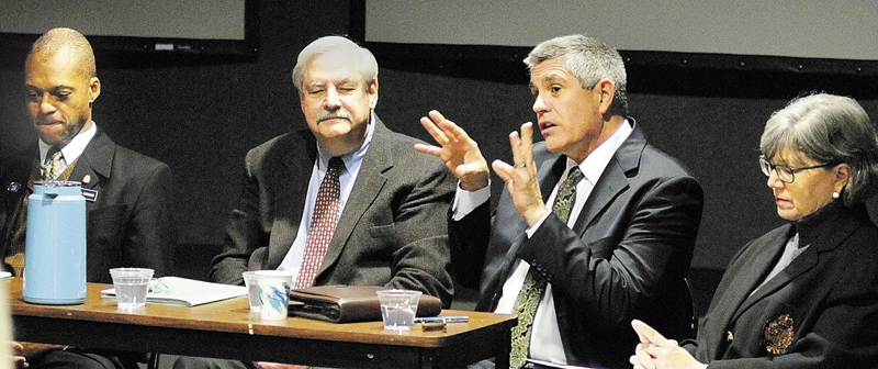 State Rep. Craig Hickman, D-Winthrop, left, Mark Lapping, Dean Lachance and Naomi Schalit took part in a panel discussion of hunger on Wednesday held at the Klahr Holocaust and Human Rights Center of Maine on The University of Maine Augusta campus.