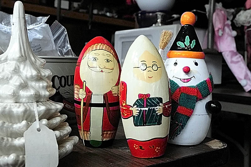 Christmas themed nesting dolls are among the items for sale at Bottles and More Redemption Shop in North Monmouth.
