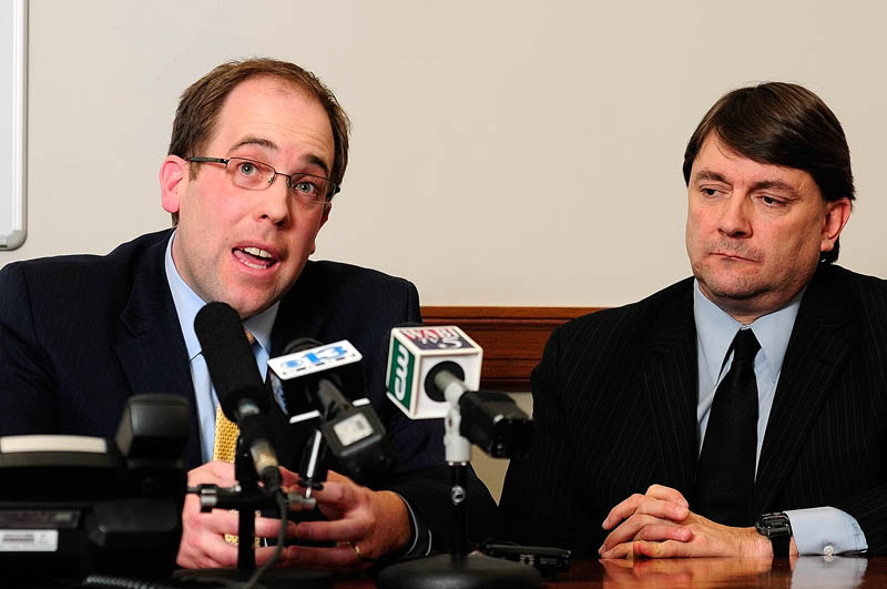 Majority Leader Sen. Seth Goodall, D-Richmond, and Assistant Majority Leader Sen. Troy Jackson, D-Allagash, answer questions during a news conference on Friday at the State House in Augusta.