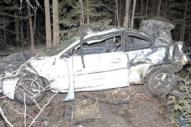 Five people were injured after this car left the northbound lane of Interstate 95 in Benton Monday night.