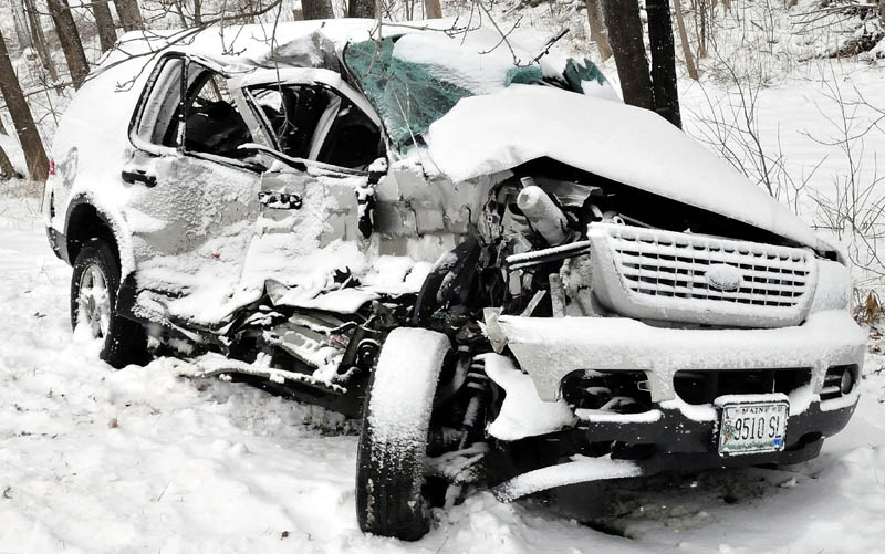 The 2003 Ford Explorer driven by Jeannine Ann, 65, of Thorndike, sustained serious damage following a collision with a tractor-trailer on the Unity Road in Benton on March 19. Ann died Thursday of injuries sustained in that accident.