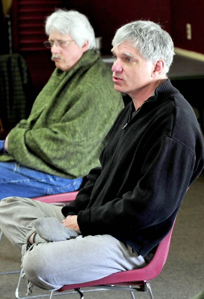 Joe Rankin, right, and Tim Davis spoke to participants during the Western Maine Buddhism seminar at the University of Maine in Farmington on Sunday. Rankin is a former Morning Sentinel reporter and Kennebec Journal editor.
