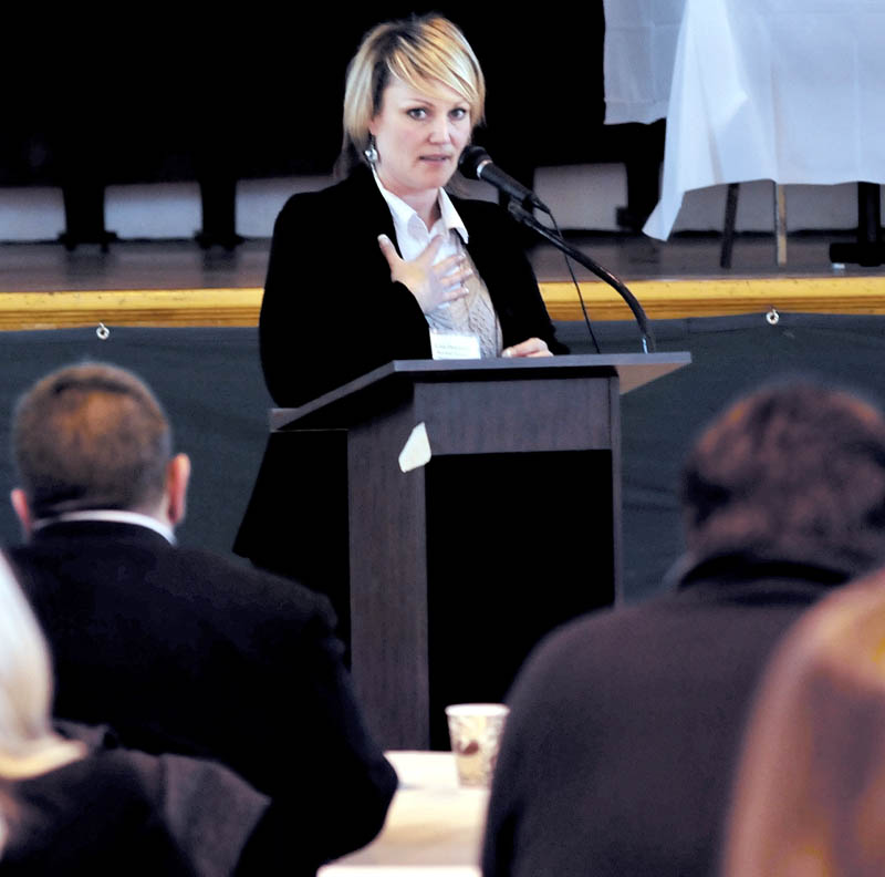 Former gambler Lesa Densmore was the keynote speaker during the Conference on Problem Gambling Awareness in Waterville on Thursday.