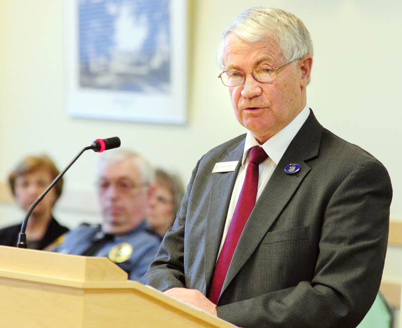 Rep. L. Gary Knight, R-Livermore Falls, introduces a bill to allow Livermore Falls to join Franklin County during a hearing Wednesday before the State and Local Government committee at the Cross Building in Augusta.