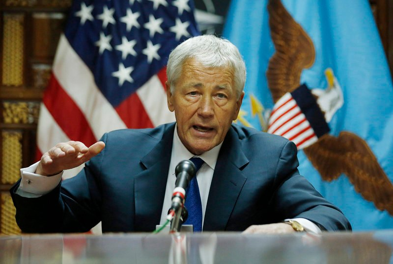 Secretary of Defense Chuck Hagel speaks to the press Sunday following his meeting with Afghanistan's President Hamid Karzai in Kabul, Afghanistan.