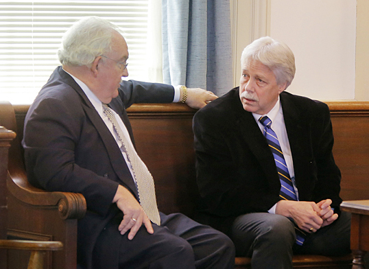 Mark Strong, Sr., right, and his attorney Dan Lilley